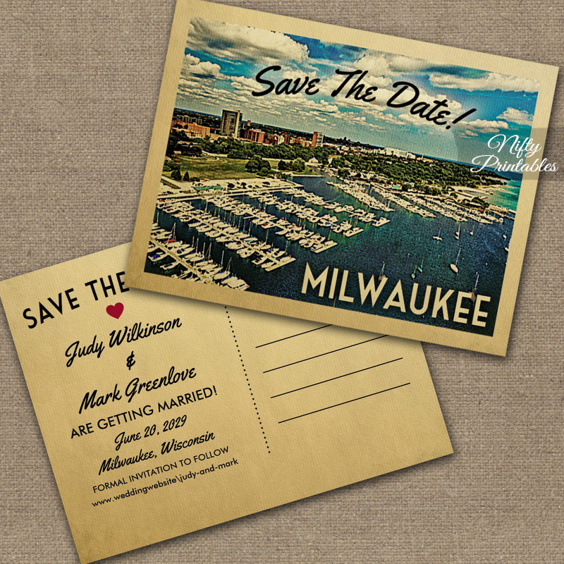 Milwaukee Save The Date Postcards PRINTED