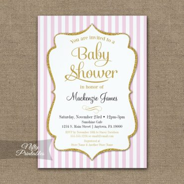 Pink Gold Baby Shower Invitations PRINTED