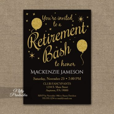Retirement Invitations - Black Gold Balloons PRINTED
