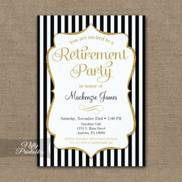Retirement Invitation - Black Gold Stripe PRINTED