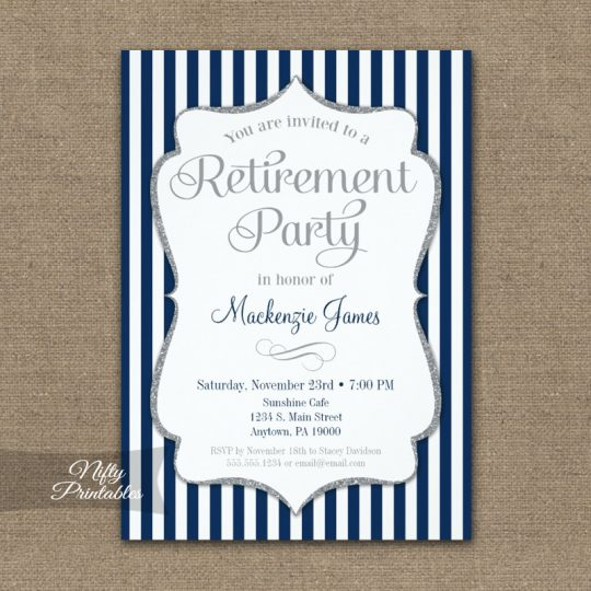 Retirement Invitations - Navy Blue Silver PRINTED