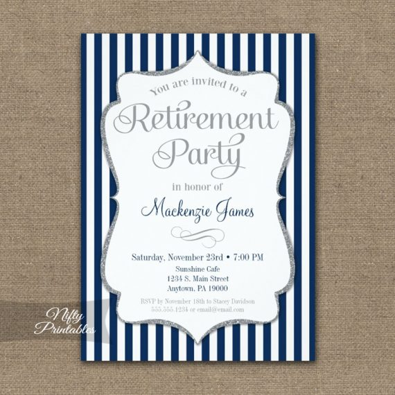 Retirement Invitation - Navy Blue Silver PRINTED