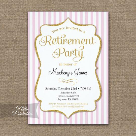 Retirement Invitations - Pink Gold Stripe PRINTED