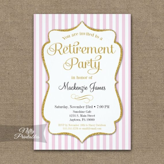 Retirement Invitation - Pink Gold Stripe PRINTED