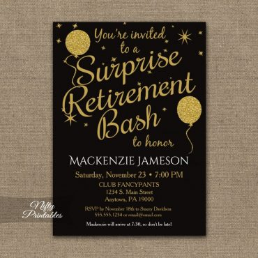Surprise Retirement Invitation - Black Gold Balloons PRINTED