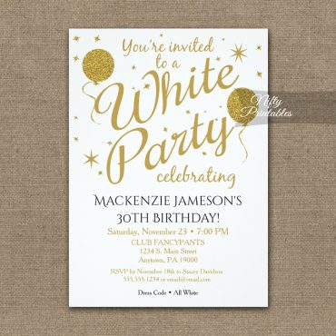 All White Party Invitation PRINTED