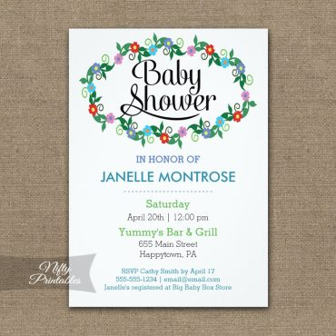 Floral White Baby Shower Invitations PRINTED