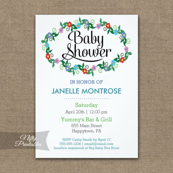 Floral White Baby Shower Invitation PRINTED
