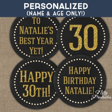 Chalkboard Gold Personalized Birthday Cupcake Toppers
