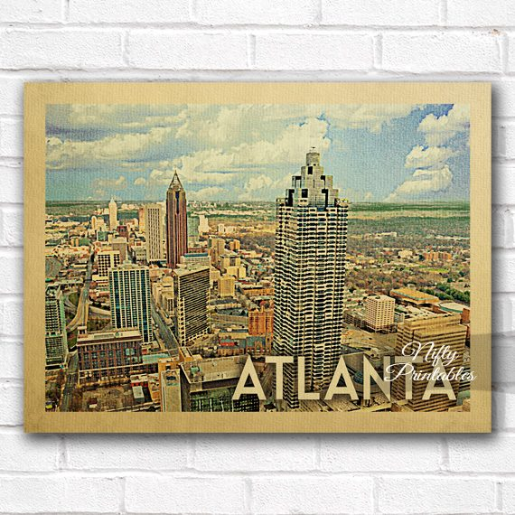 Atlanta Skyline Vintage Travel Poster