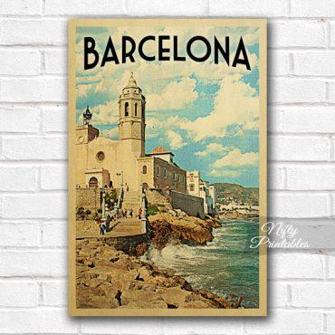 Barcelona Vintage Travel Poster
