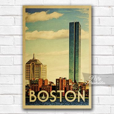 Boston Vintage Travel Poster