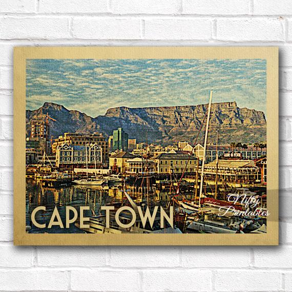 Cape Town Vintage Travel Poster