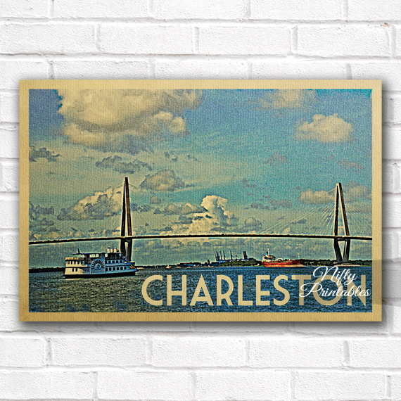 Charleston Vintage Travel Poster Nifty Printables