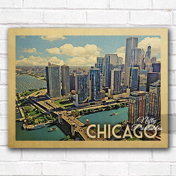 Chicago Vintage Travel Poster