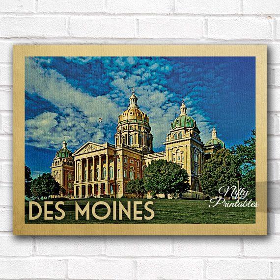 Des Moines Vintage Travel Poster