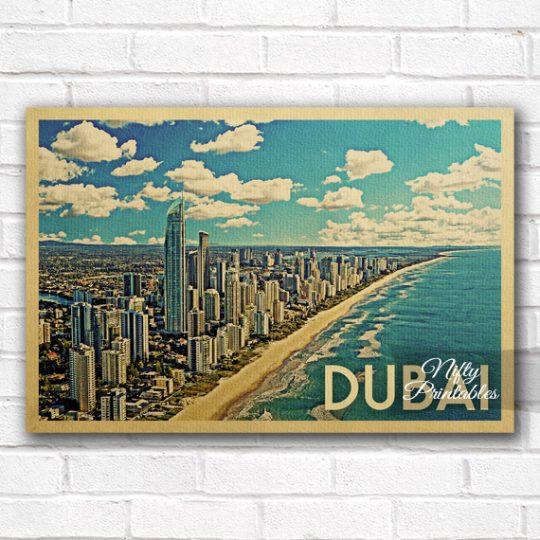 Dubai Vintage Travel Poster