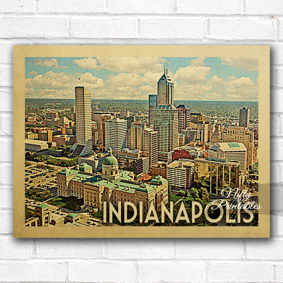 Indianapolis Vintage Travel Poster
