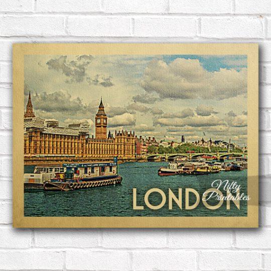 London Vintage Travel Poster