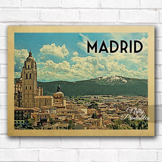 Madrid Vintage Travel Poster