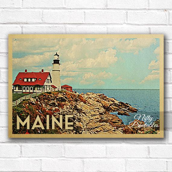 Maine Vintage Travel Poster