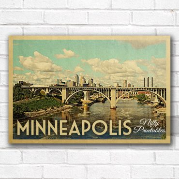 Minneapolis Vintage Travel Poster