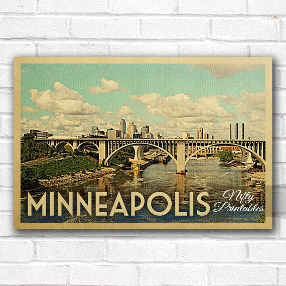 Minneapolis Vintage Travel Poster