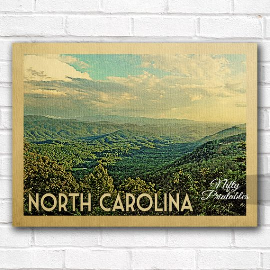 North Carolina Vintage Travel Poster