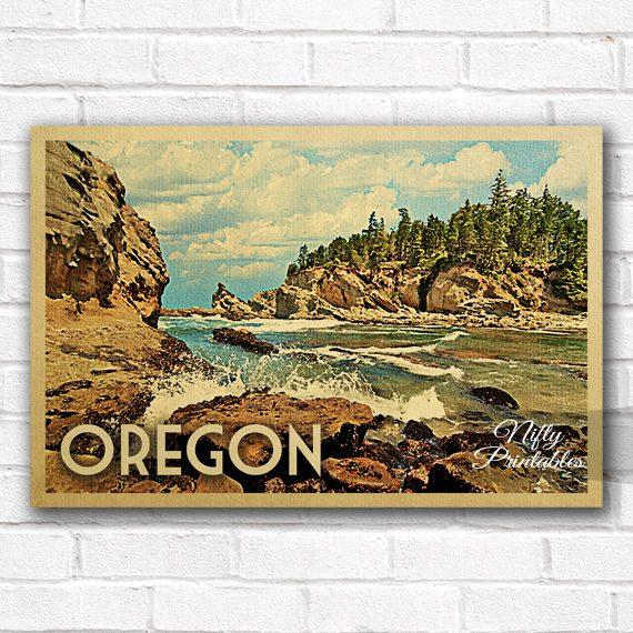 Oregon Vintage Travel Poster
