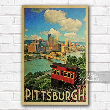 Pittsburgh Vintage Travel Poster
