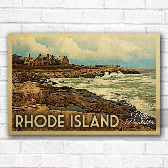 Rhode Island Vintage Travel Poster