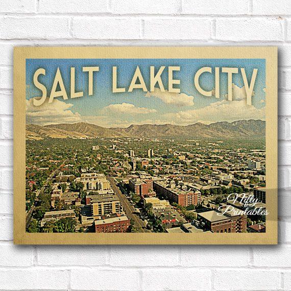 Salt Lake City Vintage Travel Poster