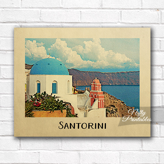Santorini Vintage Travel Poster