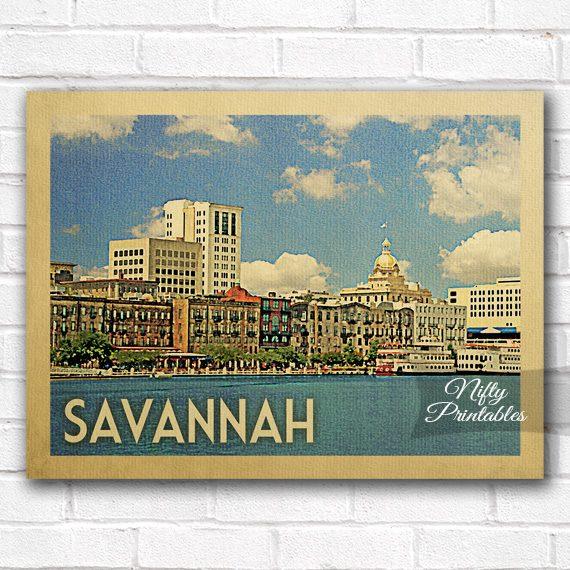 Savannah Vintage Travel Poster