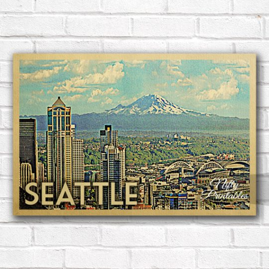 Seattle Vintage Travel Poster