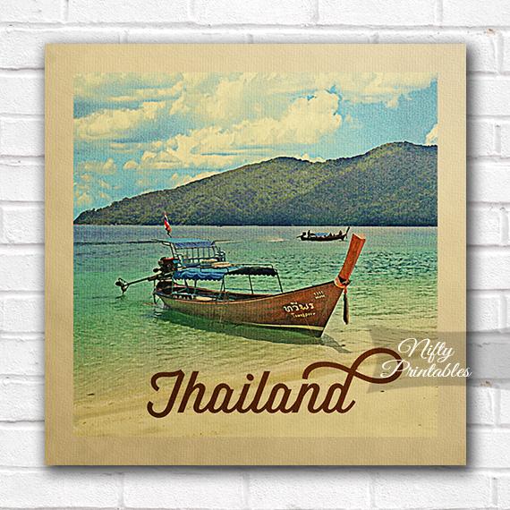 Thailand Boat Vintage Travel Poster