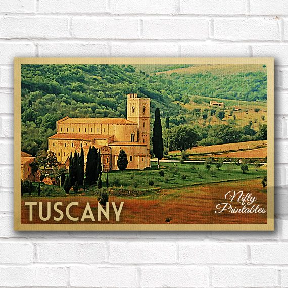 Tuscany Vintage Travel Poster