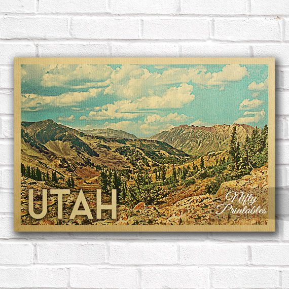 Utah Vintage Travel Poster