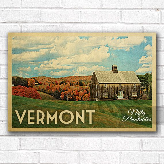 Vermont Vintage Travel Poster