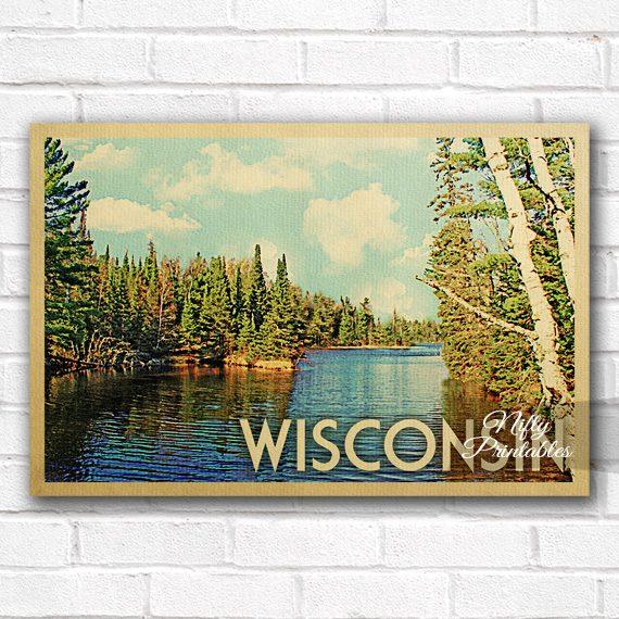 Wisconsin Vintage Travel Poster