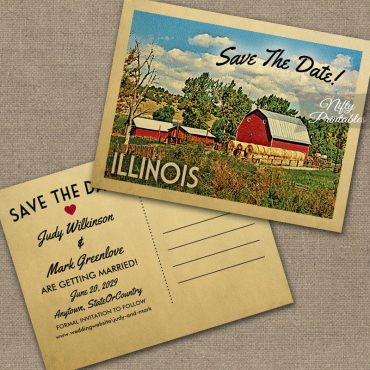 Illinois Save The Date Country Farm Barn PRINTED