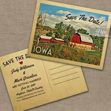 Iowa Save The Date Country Farm Barn PRINTED