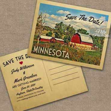 Minnesota Save The Date Country Farm Barn PRINTED