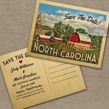 North Carolina Save The Date Country Farm Barn PRINTED