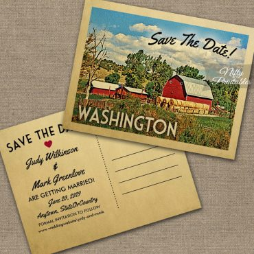 Washington Save The Date Country Farm Barn PRINTED