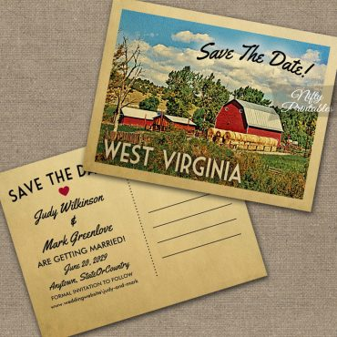 West Virginia Save The Date Country Farm Barn PRINTED
