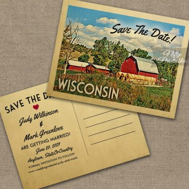 Wisconsin Save The Date Country Farm Barn PRINTED