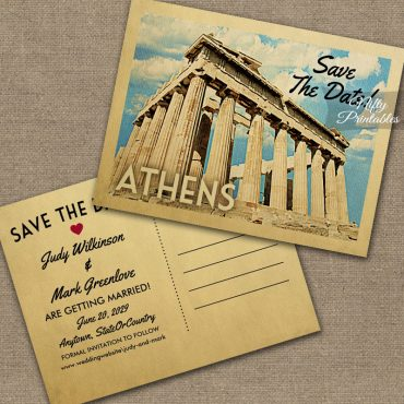 Athens Greece Save The Date PRINTED