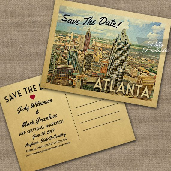 Atlanta Georgia Save The Date PRINTED
