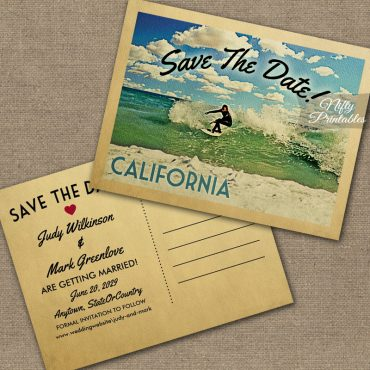 California Save The Date Surfing PRINTED